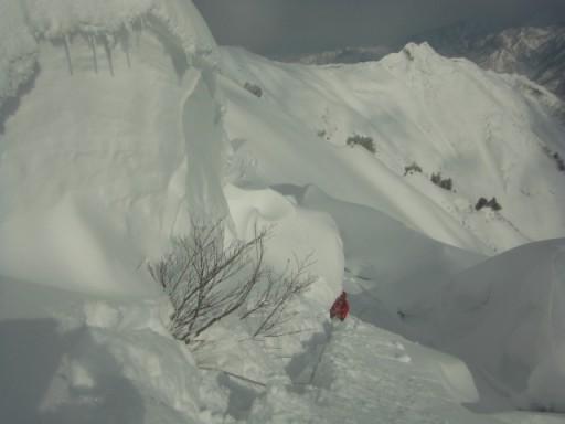 10:05北入りの頭~イワキ頭の稜線上。この区間が核心部、ずっとスタカット。
